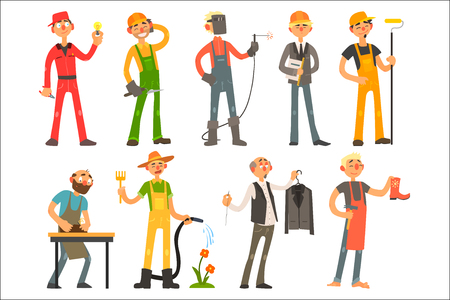 People of different professions and occupations in working outfit. Electrician, builder, welder, architect, molar, potter, gardener, clothier, shoemaker Professional at work Flat vector illustration
