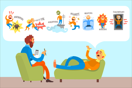 Man talking with psychotherapist about phobias arachnophobia, fear of flying, insanity, acrophobia, aquaphobia, aggression, claustrophobia. Patient lies on couch. Colorful flat vector illustration.