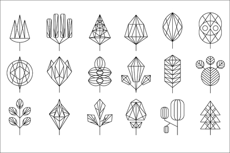 Geometrical leaves and trees big set, collection of graphic design elements vector illustration on a white background.