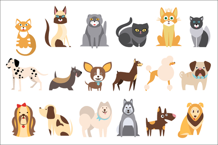 Cartoon collection of funny cats and dogs of different breeds. Domestic animals. Home pets. Humans best friends. Design for pet shop or vet clinic. Colorful flat vector illustration isolated on white Ilustração