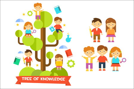 Tree of knowledge with boys ad girls, education concept vector illustration on a white background.