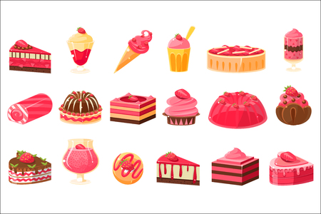 Pink sweets and desserts big set, cupcakes, ice cream, cakes with strawberry flavor vector illustration on a white background.