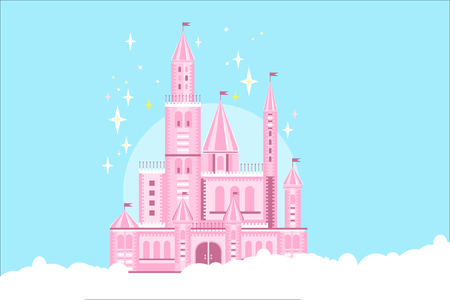 Beautiful pink princess castle in white clouds. Fairy tale building. Royal palace with towers, big gate, conical roofs and flags. Magic kingdom. Design for children's book. Flat vector illustration. Illustration