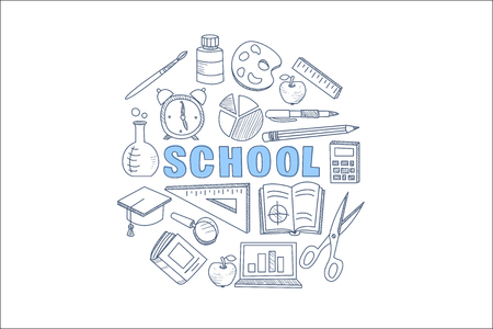School stationary equipment set hand drawn vector illustration, back to school icons