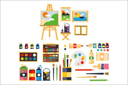 Künstlermalereiwerkzeuge und künstlerische Materialien für Malerei und Kreaturensatzvektorillustration