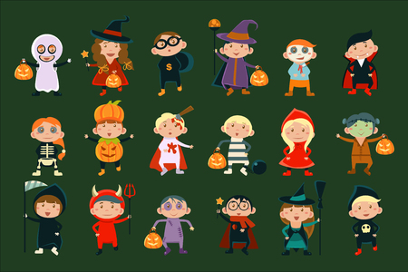 Flat vector set with cute children in festive costumes. Funny little boys and girls celebrating Halloween Illustration