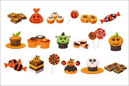 Insieme variopinto di vettore piatto di vari dolci di Halloween. Lecca-lecca, deliziosi cupcakes e cioccolato. Gustosi dessert. Dolcetto o scherzetto
