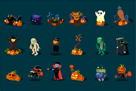 Cartoon flat vector set of Halloween icons. Black cat, pumpkins, witch on broom, grim Reaper, cauldron with green potion, Dracula, zombie Illustration