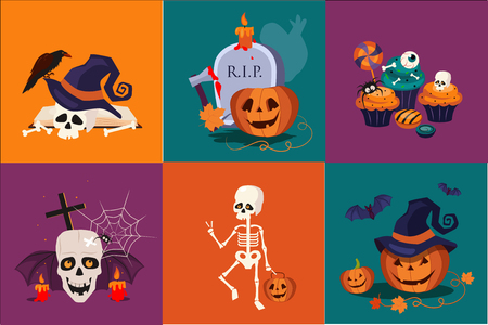 Halloween symbols set. Funny skeleton. Traditional holiday sweets, pumpkin in witch hat, skull, burning candles. Flat vector icons