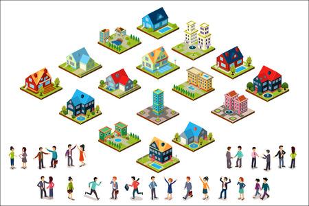 Insieme di vettore di case isometriche urbane e gruppi di persone. Edifici residenziali. Stile 3D moderno. Elementi per il gioco per cellulare o la progettazione del paesaggio