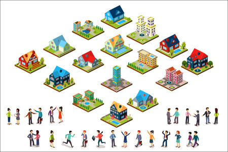 Vector set of urban isometric houses and groups of people. Residential buildings. Modern 3D style. Elements for mobile game or landscape design