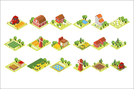 Isometric farm set. House, fields with harvest, grazing sheep, windmills, agricultural machines and wooden barns. Vector elements for mobile game