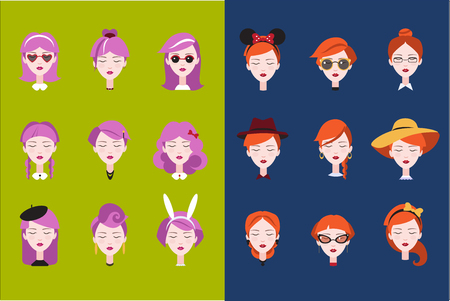 Flat vector set of female heads with different trendy hairstyles haircuts and accessories. Fashion girls with pink and orange hair