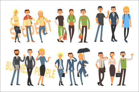 Cheerful students and business people. Young girls and guys in casual outfit. Office workers in formal clothes. Flat vector set Illusztráció