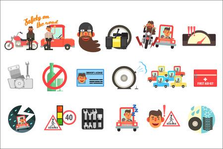 Conjunto de vector plano de elementos de dibujos animados relacionados con la seguridad en la carretera. Códigos de tráfico, señales, botiquín de primeros auxilios, licencia de conducir, motocicleta, automóvil