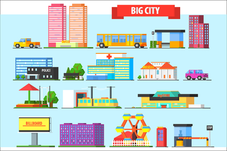 Flat vector set of big city elements. Children playground, amusement park, billboard, urban and private transport, buildings, phone booth