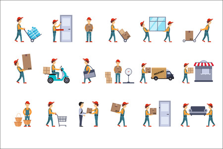 Flat vector set of illustrations for delivery concept. Loaders with parcels, man carrying cardboard boxes, guy on scooter, courier and customer Illustration