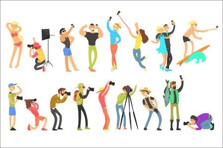 Płaskie wektor zestaw ludzi robienia zdjęć. Selfie i profesjonalne zdjęcia. Fotografowie z aparatami cyfrowymi. Chłopaki i dziewczyny z telefonami