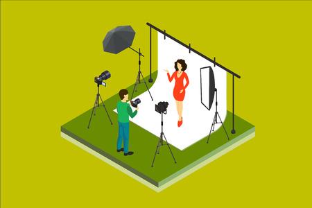 Photographer shooting model in studio. Photo equipment digital camera, softbox, spotlight, backdrop, umbrella. Isometric vector illustration