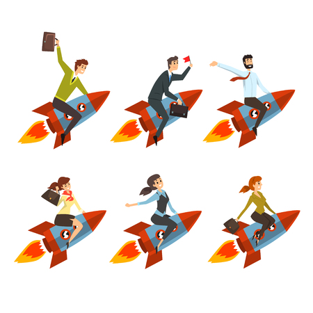 Business men and women flying on rockets. Successful people in formal clothes. Career advancement. Y Flat vector icons Illustration