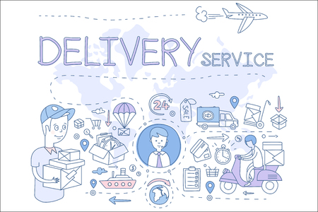 Delivery service concept illustration. Icons in linear style. Delivery boy and manager, transport, payment with cards. Vector design for mobile app