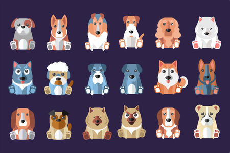 Set of cute dogs of different breeds icon