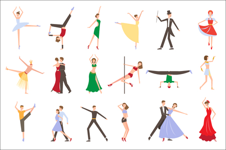 Professional dancers performing different styles of dancing. People in colorful costumes. Young men and women on stage. Flat vecotr design Stock Photo