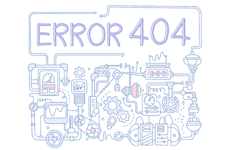 Concept of error 404. Colored vector background for not found page with pipes, working mechanisms, details, screens, valves and rotating gears