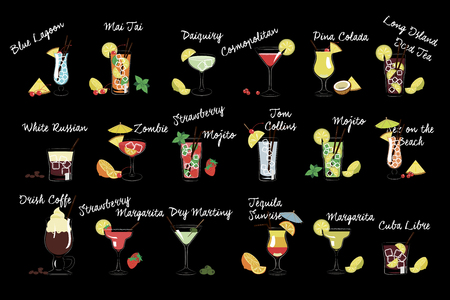 Vector set of various drinks. Alcoholic beverages. Tasty cocktails with ice cubes and fruits. Design for beach party poster, bar or menu Stock Photo