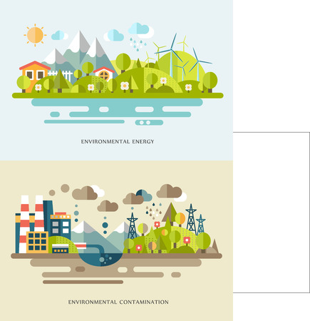 Flat vector banners with countrysides showing eco energy and environmental contamination. Alternative source of power. Nature pollution Reklamní fotografie