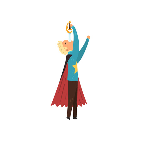 Wizard swallowing sword. Magician in mantle performing on stage. Flat vector design Banco de Imagens