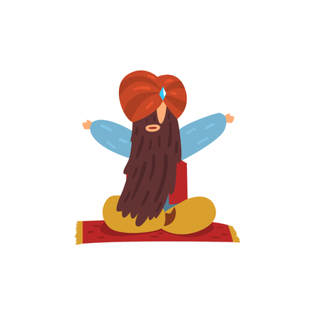 Funny man sitting with long beard and turban on head on flying magic carpet. Magician showing levitating trick. Flat vector design Imagens