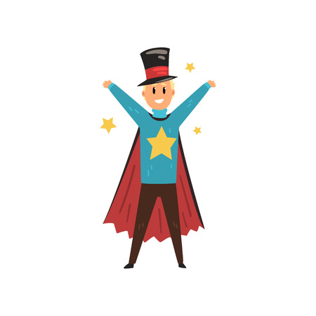 Circus magician surrounded by stars standing with hands up. Cheerful illusionist in magic hat and cape. Flat vector design