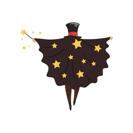 Magician in black mantle with stars and cylinder hat, back view Wizard with magic stick. Circus performance. Flat vector design