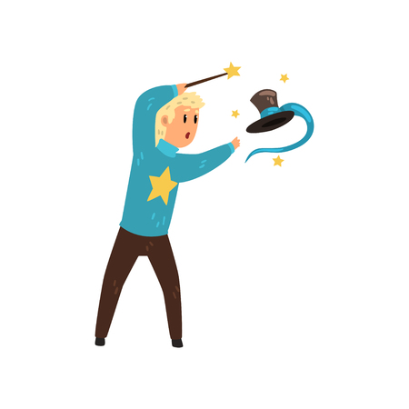 Illusionist performing focus with cylinder hat. Magician showing trick using magic stick. Flat vector design