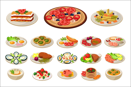 Set of various dishes on plates. Tasty food. Traditional breakfast. European lunch. Flat vector design for promo poster, cafe or restaurant menu Stockfoto