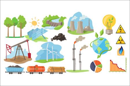 Tipos de recursos naturales para la producción de energía ecológica. Industria de producción de electricidad. Fuente alternativa de energía. Iconos de vector plano colorido