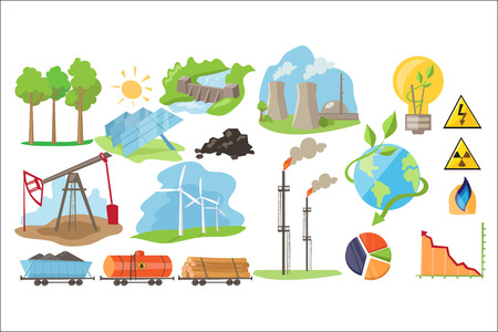 Types of natural resources for producing eco energy. Electricity production industry. Alternative source of power. Colorful flat vector icons