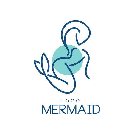Mermaid logo, design element for badge, invitation card, banner vector Illustration on a white background