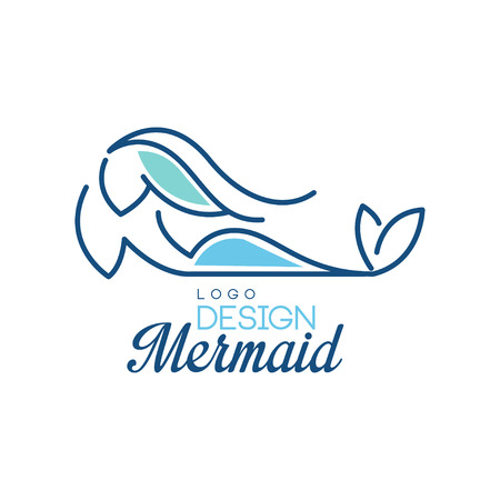 Mermaid logo design Ilustrace