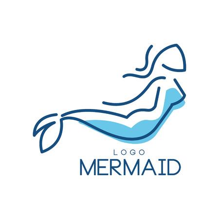 Meerjungfrau-Logo, Schattenbild der Meerjungfrau für Abzeichen, Einladungskarte, Fahnenvektorillustration lokalisiert auf einem weißen Hintergrund. Logo