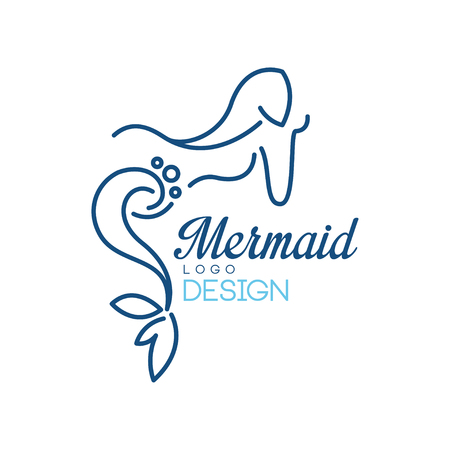 Mermaid logo design, silhouette of mermaid for badge, invitation card, banner vector Illustration isolated on a white background.