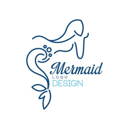 Meerjungfrau-Logo-Entwurf, Schattenbild der Meerjungfrau für Abzeichen, Einladungskarte, Fahnenvektorillustration lokalisiert auf einem weißen Hintergrund.