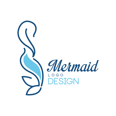 Mermaid logo design vector Illustration isolated on a white background.