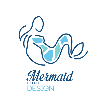Mermaid logo, design element for badge, invitation card, banner vector Illustration isolated on a white background. Ilustrace