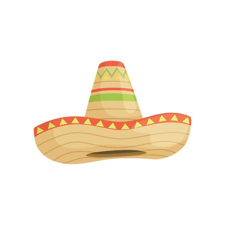 Mexikanischer Sombrerohut, traditionelles Symbol der Mexiko-Vektorillustration lokalisiert auf einem weißen Hintergrund.