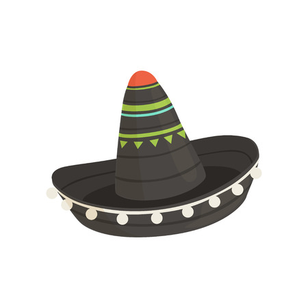 Black Mexican sombrero hat, traditional symbol of Mexico vector Illustration isolated on a white background.