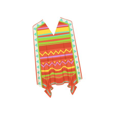 Poncho, traditional Mexican clothes vector Illustration isolated on a white background.