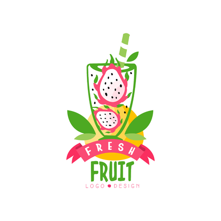 Original logo with halves of ripe pitaya in glass. Juice form tropical dragon fruit. Natural and tasty beverage. Hand drawn vector emblem