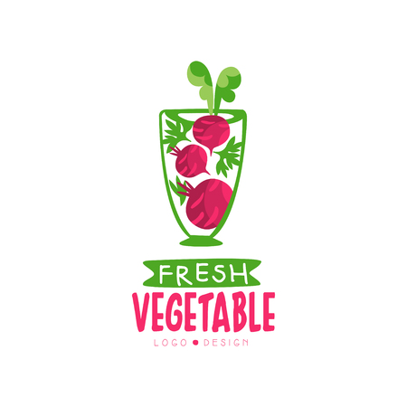 Creative vector label for organic juice from beetroot. Healthy vegetarian drink. Fresh beverage in transparent glass Illustration